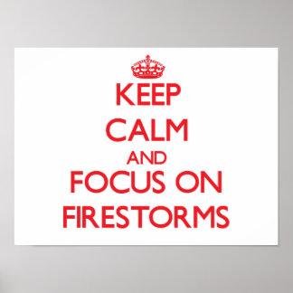 Mantenha a calma e o foco em incêndios posters