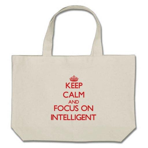 Mantenha a calma e o foco em inteligente bolsa de lona