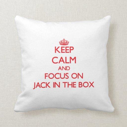 Mantenha a calma e o foco em Jack in the Box Travesseiros De Decoração