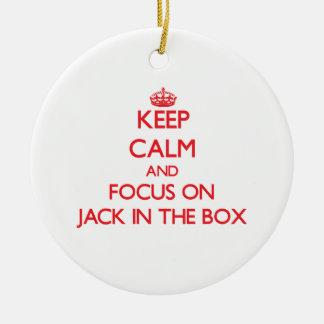 Mantenha a calma e o foco em Jack in the Box Enfeites De Natal