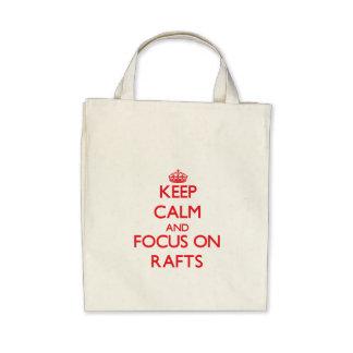 Mantenha a calma e o foco em jangada bolsa para compras