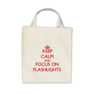 Mantenha a calma e o foco em lanternas elétricas bolsa de lona