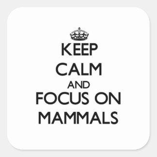 Mantenha a calma e o foco em mamíferos adesivo quadrado