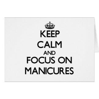 Mantenha a calma e o foco em Manicures Cartoes