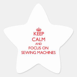 Mantenha a calma e o foco em máquinas de costura adesivos estrelas