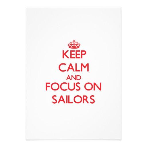 Mantenha a calma e o foco em marinheiros convite personalizado