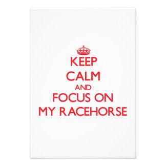 Mantenha a calma e o foco em meu cavalo de corrida convite
