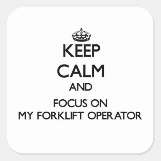 Mantenha a calma e o foco em meu operador da adesivo quadrado