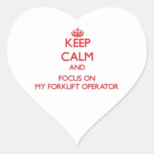 Mantenha a calma e o foco em meu operador da adesivos de corações
