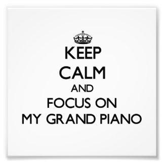 Mantenha a calma e o foco em meu piano de cauda