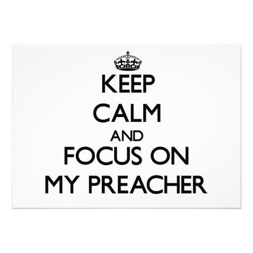 Mantenha a calma e o foco em meu pregador convites personalizados