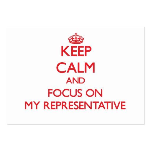 Mantenha a calma e o foco em meu representante cartões de visitas