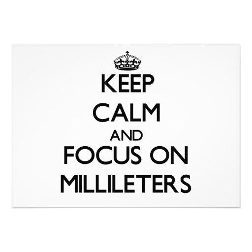 Mantenha a calma e o foco em Millileters Convite Personalizados