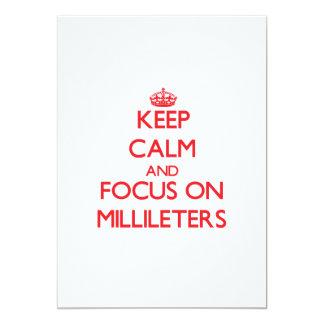 Mantenha a calma e o foco em Millileters Convite 12.7 X 17.78cm