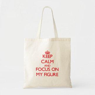 Mantenha a calma e o foco em minha figura bolsas para compras