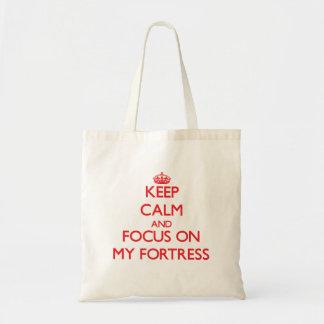 Mantenha a calma e o foco em minha fortaleza bolsa para compras