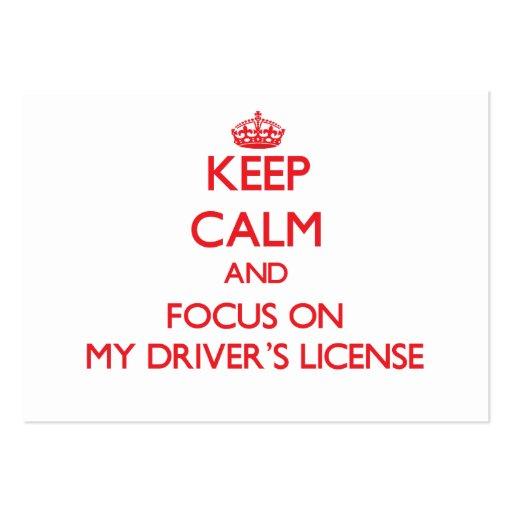 Mantenha a calma e o foco em minha licença de moto cartao de visita