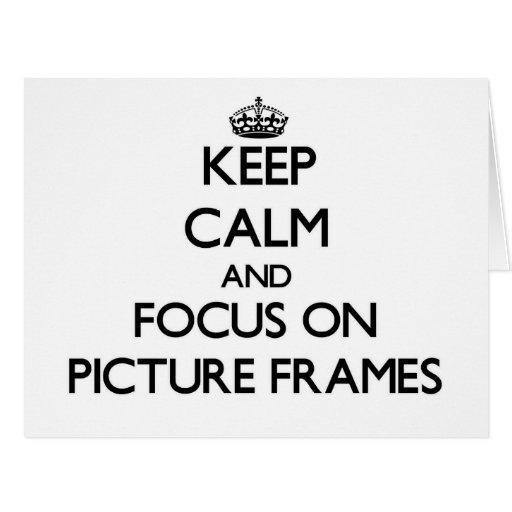 Mantenha a calma e o foco em molduras para retrato cartoes