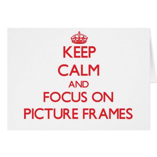 Mantenha a calma e o foco em molduras para retrato cartões