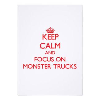 Mantenha a calma e o foco em monster truck convite