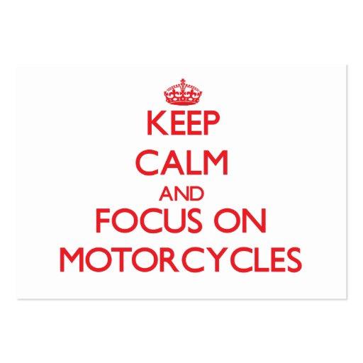 Mantenha a calma e o foco em motocicletas modelo cartoes de visita