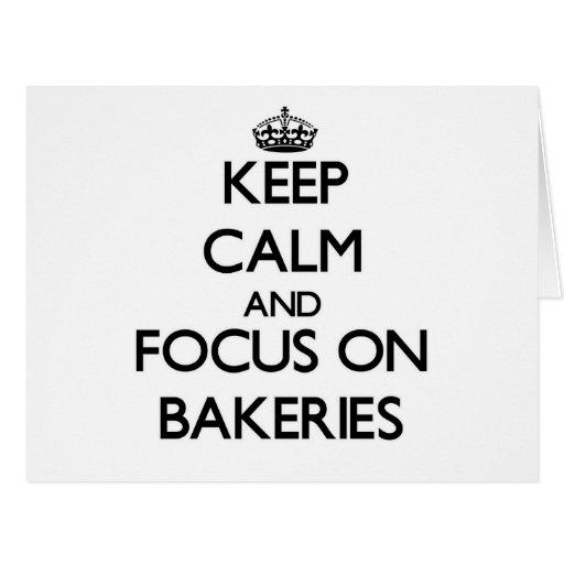 Mantenha a calma e o foco em padarias cartoes