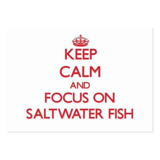 Mantenha a calma e o foco em peixes de água salgad modelos cartoes de visitas