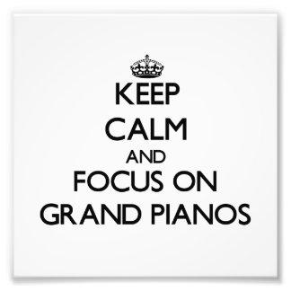 Mantenha a calma e o foco em pianos de cauda