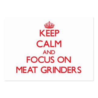 Mantenha a calma e o foco em picadoras de carne modelo cartão de visita
