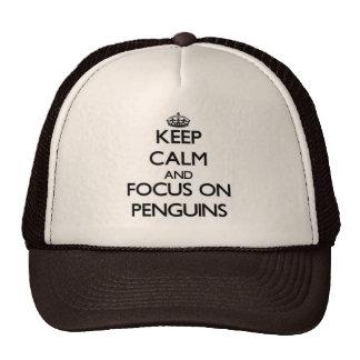Mantenha a calma e o foco em pinguins boné