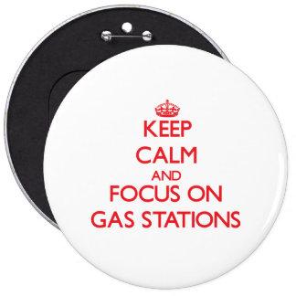 Mantenha a calma e o foco em postos de gasolina boton