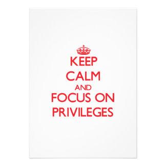 Mantenha a calma e o foco em privilégios