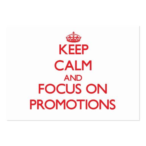 Mantenha a calma e o foco em promoções modelos cartao de visita
