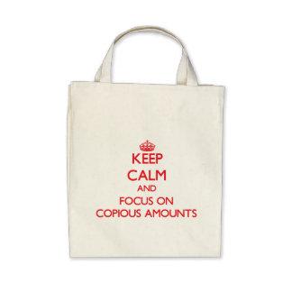 Mantenha a calma e o foco em quantidades copiosos bolsa de lona