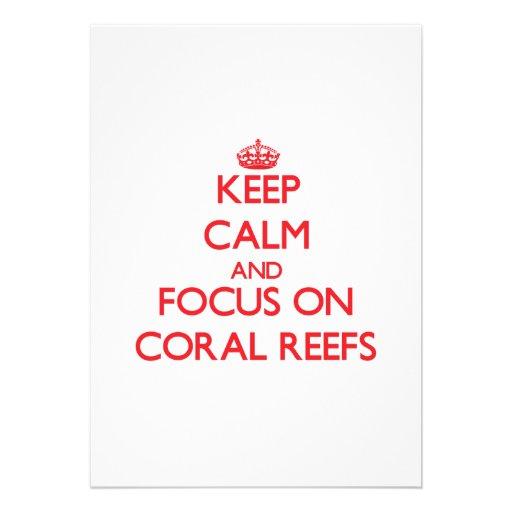 Mantenha a calma e o foco em recifes de corais convite personalizados