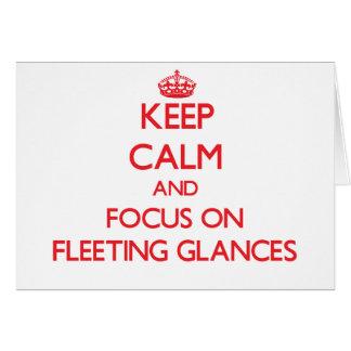 Mantenha a calma e o foco em relances breves cartoes