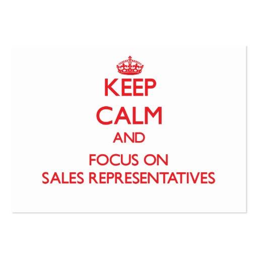 Mantenha a calma e o foco em representantes de ven cartões de visita