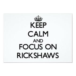 Mantenha a calma e o foco em rickshaws convites personalizados
