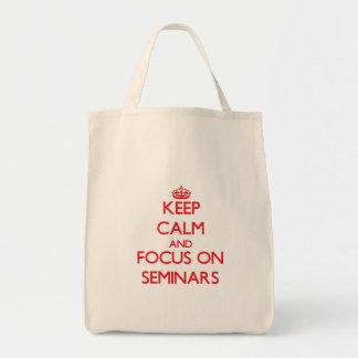 Mantenha a calma e o foco em seminários sacola tote de mercado