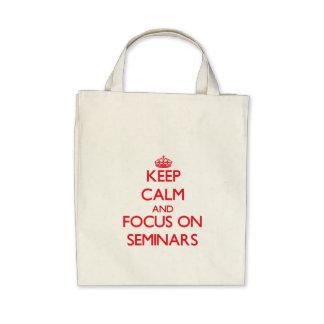 Mantenha a calma e o foco em seminários bolsa de lona