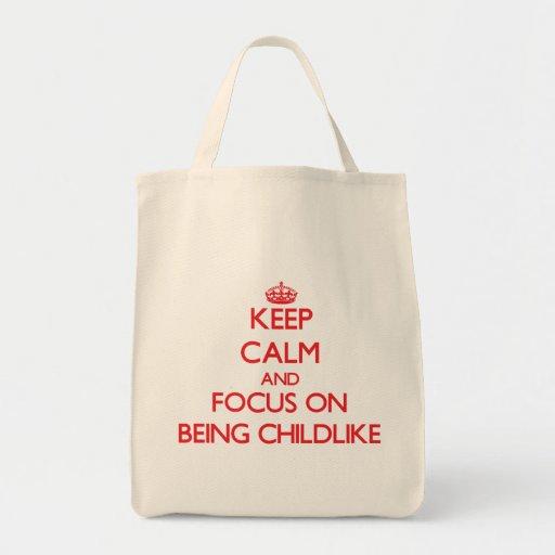 Mantenha a calma e o foco em ser infantil bolsa para compra