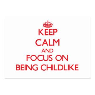 Mantenha a calma e o foco em ser infantil modelo cartoes de visita