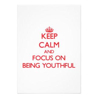 Mantenha a calma e o foco em ser jovem convite personalizados
