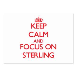 Mantenha a calma e o foco em Sterling Cartões De Visitas