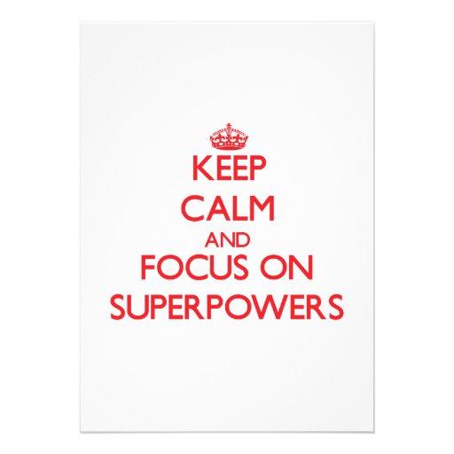 Mantenha a calma e o foco em superpotências convites personalizado