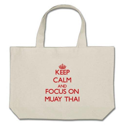 Mantenha a calma e o foco em tailandês de Muay Bolsas De Lona