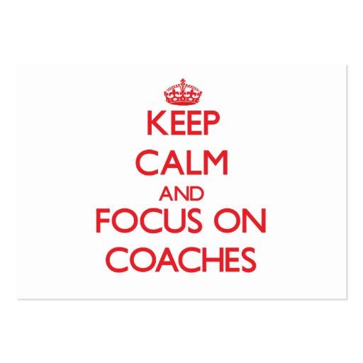 Mantenha a calma e o foco em treinadores cartoes de visita