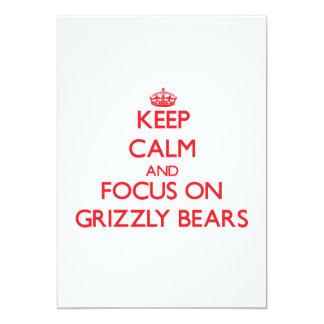 Mantenha a calma e o foco em ursos de urso convite personalizados