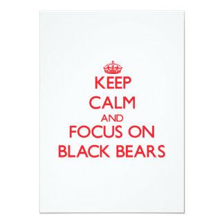 Mantenha a calma e o foco em ursos pretos convite personalizado