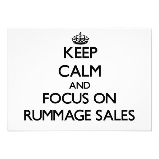 Mantenha a calma e o foco em vendas Rummage Convites